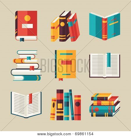 Set of book icons in flat design style. poster
