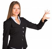 Businesswoman holding anything in his hand