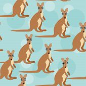 pattern with funny cute kangaroo animal on a blue backg