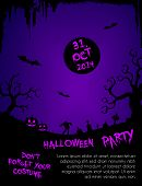 Halloween party flyer template - purple and black