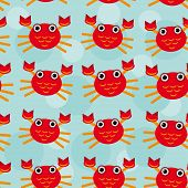 Red crayfish Seamless pattern with funny cute animal on a blue b