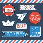 Set of delivery badges and labels. Blue,white and red signs collection. Labels isolated on backgroun