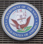 Department of the Navy logo on U.S. Armed Forces Recruiting Station at Times Square