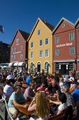 urban life in a cafe at Bryggen in Bergen, Norway