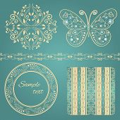 set of beige floral border, frame, pattern. with glamour vintage butterfly
