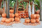 The Strange Pots Sculpture Look Like Human Face In Nong Nooch