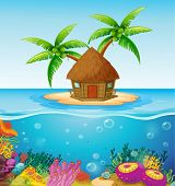 Illustration of a hut on a desert island