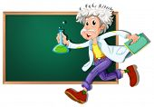 Illustration of a scientist running in front of a blackboard