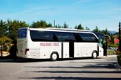 Kassandra Peninsula , Greece - April 26: The Modern Bus For Tourists Transportation Is Near Entrance