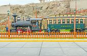 MOLLENDO, PERU, MAY 19, 2014 - Ferro Carilles del Sur train and wax statues of rail workers in open