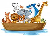 Illustration of many animals on the boat