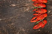 pic of crawfish  - Fresh boiled crawfish on the old wooden background - JPG