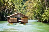 Exotic Cruise Boat With Tourists On A Jungle River. Island Bohol, Philippines.