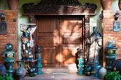 Decorative Entrance With Wooden Door To The Hotel In Philippines