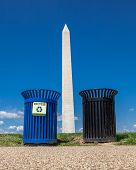Recycle Bins And Washington Monument Background