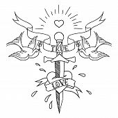foto of swallow  - old school tattoo design with sword and swallows - JPG