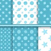 Set of space seamless patterns with planets and stars - blue vec