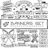 Hand drawn banner and tag icons