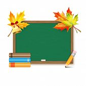 School Board With Maple Leaves And Books Isolated On White Background