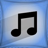 Music note. Flat modern web design on a flat geometric abstract background
