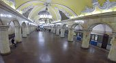 MOSCOW, RUSSIA - NOVEMBER 16, 2013: Circle Line station Komsomolskaya of the Moscow Metro, aerial view. The station opened on January 30, 1952