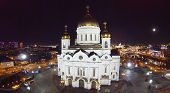MOSCOW, RUSSIA - NOVEMBER 18, 2013: Cathedral of Christ the Savior at night, aerial view. Temple des