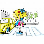 picture of beetle car  - Happy shopping girl on the street with volkswagen beetle on background - JPG