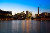 LONDON, UK - JULY 29 2014: Canary Wharf business district in dusk