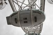 LONDON, UK - JULY 29 2014: London eye, part of great engineering construction. South walk of river T