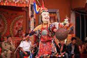 DAK THOK, INDIA-JULY 29 - An unidentified buddhist monk dancing during a festival at Dak Thok Monast