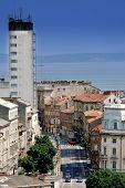 Strossmayer Street And Hotel Neboder In Rijeka,croatia