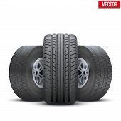 Realistic wheels and tire concept. Vector Illustration