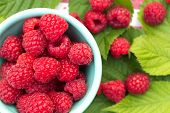 Sweet Organic Raspberries In A Bowl