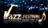 Jazz Festival Saxophone Silver City Bokeh Star Shine Blue 3D