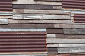 Rusted Galvanized Iron And Wooden Wall