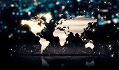 World Map Silver City Light Shine Bokeh 3D Background