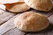 Tasty Pita Bread On The Wooden Table Closeup Horizontal