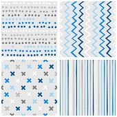 Set of white gray blue vector seamless patterns with dots chevron crosses and stripes on light