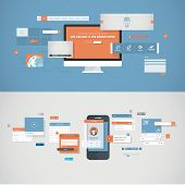 Set of flat design concepts for mobile app and website design development