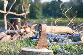 Ax Stuck In A Log