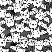 foto of kawaii  - Seamless halloween kawaii cartoon pattern with cute bats - JPG