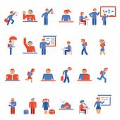 Children in school flat icons