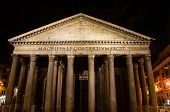 Rome Pantheon Facade At Night Time