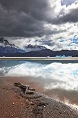 Dry driftwood on the sandy beach. Bright reflections of sky and clouds in the smooth cold water of Lake Grey. Chilean Patagonia, National Park Torres del Paine