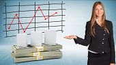 Businesswoman points hand on white boxes and money