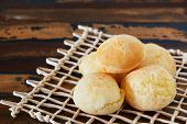 Brazilian Snack Cheese Bread (pao De Queijo) On Wooden Table