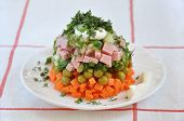 A Delicious Salad With Mayonnaise Posted A Slide On A Plate