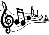 picture of clip-art staff  - Music notes dancings across the staff - JPG