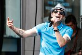 NEW YORK-AUG 8: Singer Robin Wilson of the Gin Blossoms performs at Fox and Friends' All-American Summer Concert Series on the corner of 48th Street and 6th Avenue on August 8, 2014 in New York City.