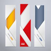 Vertical banners with origami style triangular elements
